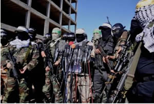 The press conference held by the military wings of the Palestinians terrorist organizations in the Gaza Strip, where they condemned the Egyptian court ruling (Paltoday.ps, February 5, 2015).