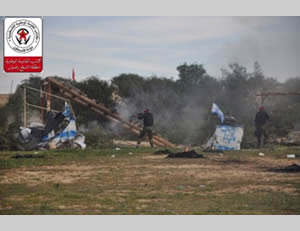 DFLP terrorist operatives simulate storming an IDF post to abduct an Israeli soldier (Facebook page National Resistance Battalions information bureau, February 8, 2015)