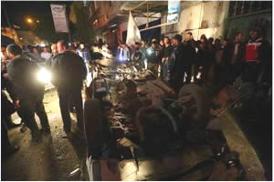 The vehicle of senior Hamas figure Sheikh Sami Hamas after the explosion in the Nuseirat refugee camp (Paltimes.net, February 6, 2015).