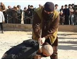 "Beheading of a ""witch"" in the rural eastern area of Al-Raqqah (Twitter account affiliated with ISIS, February 9, 2015)"