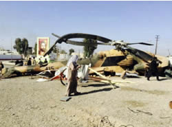 Iraqi Army helicopter which ISIS claims was shot down on February 4 in Samarra (theshamnews.com, an independent news website affiliated with ISIS, February 5, 2015)