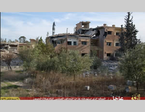 Buildings where ISIS claims Ms. Mueller was staying at the time of the Jordanian airstrike (Isdarat al-Dawla al-Islamiyya, February 7, 2015)
