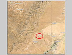 The town of Falita (circled in red), in the area of Al-Qalamoun