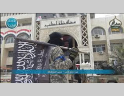 Al-Nusra Front flags waving in Idlib (jihadi forum, March 29, 2015)
