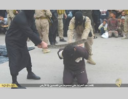 Beheading of a civilian charged with corruption in Iraq's Nineveh province (ISIS-affiliated file-sharing website, March 30, 2015)