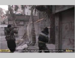 Photos of the fighting at the Al-Yarmouk refugee camp published by ISIS (April 5, 2015).