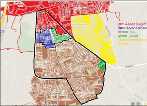 Map showing the control of the Al-Yarmouk refugee camp as of April 7, 2015 (http://www.alzaytouna.net)