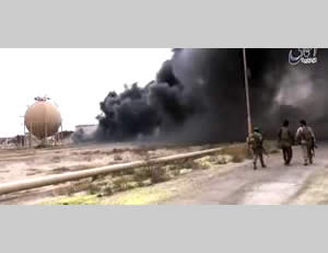 ISIS operatives in the refineries in Baiji (ISIS-affiliated Twitter account, April 12, 2015)