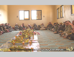 ISIS operatives at the guest house of the Al-Mashahida tribe (Dump, April 19, 2015)