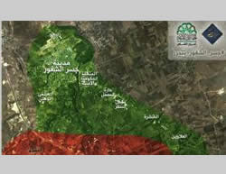 Map showing the control of the city of Jisr al-Shughur published by the Al-Nusra Front.
