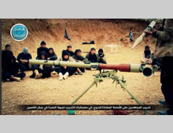 Al-Nusra Front operatives being trained to operate anti-tank weapons.