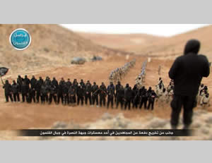 Closing ceremony of the Al-Nusra Front operatives' training courses at the training camps in the Al-Qalamoun Mountains