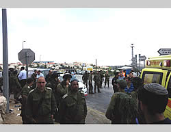 Site of the vehicular attack at the Alon Shvut junction in Gush Etzion (Photo released by the spokesperson of the Regional Council, Samaria; from Tazpit.org.il, May 15, 2015).
