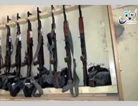 Kalashnikovs left by Syrian soldiers at the T-3 pumping station (ISIS-affiliated Facebook account, May 21, 2015).