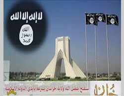 ISIS threatens Iran: A notice published in Iranian media showing ISIS flags flying near the Azadi Tower in Tehran.