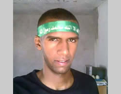 Walid Bani Gharra wearing a Hamas headband (Facebook page of PALINFO, June 10, 2015).