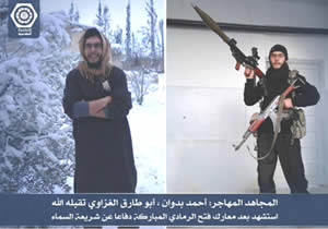 Left: Ahmed Badwan in Syria. Right: Ahmed Badwan armed and wearing an ISIS uniform (@bakoon82 Twitter account, June 9, 2015).
