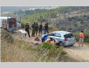 The scene of the shooting attack near the village of Dolev east of Modi'in (Photo by Matanya Aharonowitz for Tazpit News Agency, June 19, 2015).