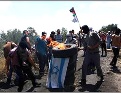 Palestinians burn an Israeli flag during the weekly riot in the Kafr Qaddum (Wafa News Agency, June 19, 2015).