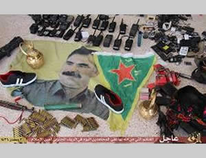 Some of the items that fell into the hands of ISIS in the battle with PKK operatives (ISIS-affiliated Twitter account, June 19, 2015)