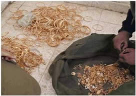 Gold found in the possession of the Hamas network in Nablus, which was to be exchanged for funds to finance their activities (Israel Security Agency, July 1, 2015).