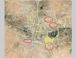 Neighborhoods in Al-Hasakah where ISIS is reportedly present: Ghuwayran in the south, Al-Nashwah in the southwest, Al-Aziziyah in the northeast and Al-Ghazal in the east (Wikimapia)