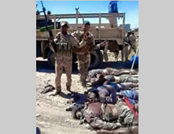 Photo of dead ISIS operatives in the area of Baiji, released by the Iraqi Army (Twitter, July 2, 2015)