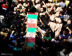 	A fighter from the Fatemiyoun Battalion (Afghans fighting in the IRGC ranks in Syria) killed in Syria was buried in the city of Mashhad (northeastern Iran) on July 9, 2015.