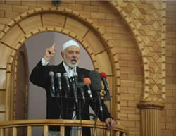 Senior Hamas figure Ismail Haniya giving the Friday sermon in Rafah, where he called for closer ties with Saudi Arabia