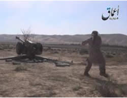 ISIS operatives shooting at the T-4 military airbase (a3maqnews.tumblr; archive.org, July 17, 2015)