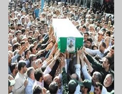 The funeral held for Ali Hassani in the Arborz Province