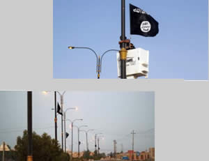 The city of Ramadi is still in the hands of ISIS: ISIS flags hanging on lampposts in the city streets (ISIS-affiliated Twitter account, August 7, 2015; justpaste.it, August 6, 2015)