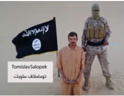 Croatian national held by operatives of ISIS's Sinai province in a video released by ISIS (isdarat.tv, August 5, 2015).