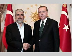 Khaled Mashaal meets with Turkish president Erdogan in Ankara (Facebook page of PALDF, August 12, 2015).