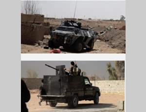 The Iraqi Army armored vehicles that ISIS claims to have seized in battle in the area of Baiji (Isdarat.tv, August 14, 2015).
