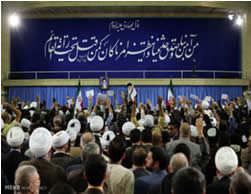 Khamenei speaks at the Ahl al-Bayt conference.