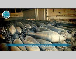 Dozens of mortar bombs prepared by the Al-Nusra Front for launching at the Abu al-Duhur military airbase (ISIS-affiliated Twitter account, August 20, 2015).