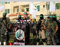 Memorial service unveiling a monument dedicated to the Izz al-Din al-Qassam Brigades naval commandos killed in Operation Protective Edge