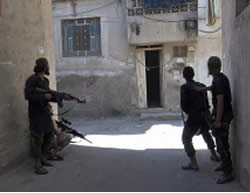 ISIS operatives in Damascus's Al-Qadam neighborhood (Justpaste.it, August 30, 2015)