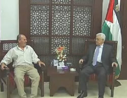 Mahmoud Abbas meets in his office with the family of terrorist Muhammad al-Atrash (Facebook page of Mahmoud Abbas, September 2, 2015)