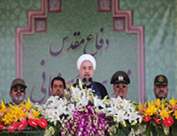 Iranian President at a ceremony marking the 35th anniversary of the outbreak of the Iran-Iraq war