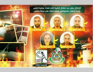 Pictures of the terrorist operatives who carried out the terrorist attack near Itamar, issued by Hamas on its official Facebook page (Facebook page of PALDF, October 6, 2015).