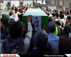 The funeral held in Mashhad for Esmail Nousavi and Nazer Hoseini