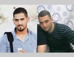 Bahaa Muhammad Khalin Alian (left) and Bilal Abu Ghanam, who carried out the attack in Armon Hanatziv (Twitter account of Al-Aqsa TV, October 13, 2015).