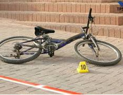 The bicycle of the Israeli boy attacked by the two Palestinians.