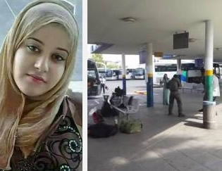 Left: The female terrorist, Israa Zaydan Tawfiq 'Abed, from Nazareth. Right: Israeli security personnel order her to drop the knife (Al-Masdar; Kinanblan.blogspot.co.il, October 9, 2015).