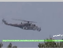 Russian MI-35 combat helicopter supporting the Syrian Army in Al-Ghab plain, southwest of Idlib (YouTube, October 8, 2015)