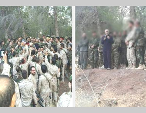 Qods Force Commander Qassem Soleimani briefing operatives (possibly Hezbollah), apparently in the area of Latakia, after the start of the Syrian Army's ground offensive (Facebook, October 13, 2015)