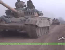 Syrian Army tanks advancing in the rural area southwest of Aleppo (Military Media Syria's Facebook page; YouTube, October 16, 2015)