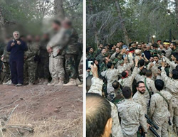Qasem Soleimani (left, holding microphone) talks to Hezbollah operatives, probably in the region of Latakia, Syria (Facebook, October 13, 2015).